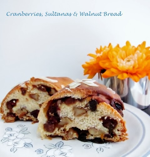 Cranberries, Sultanas and Walnut Bread from Nomsies Kitchen