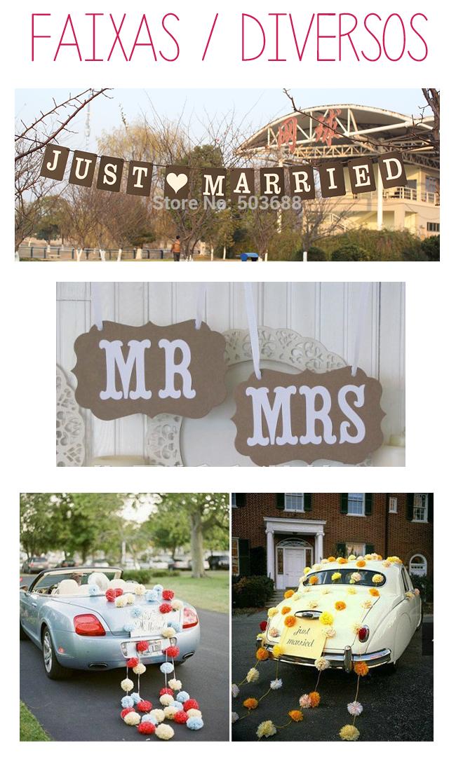 faixas, pompom, itens decorativos para o carro dos noivos