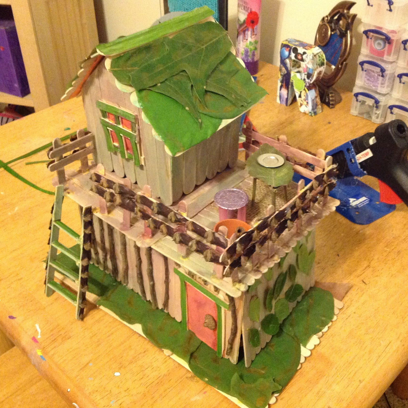 rebecca's fairy house with popsicle sticks