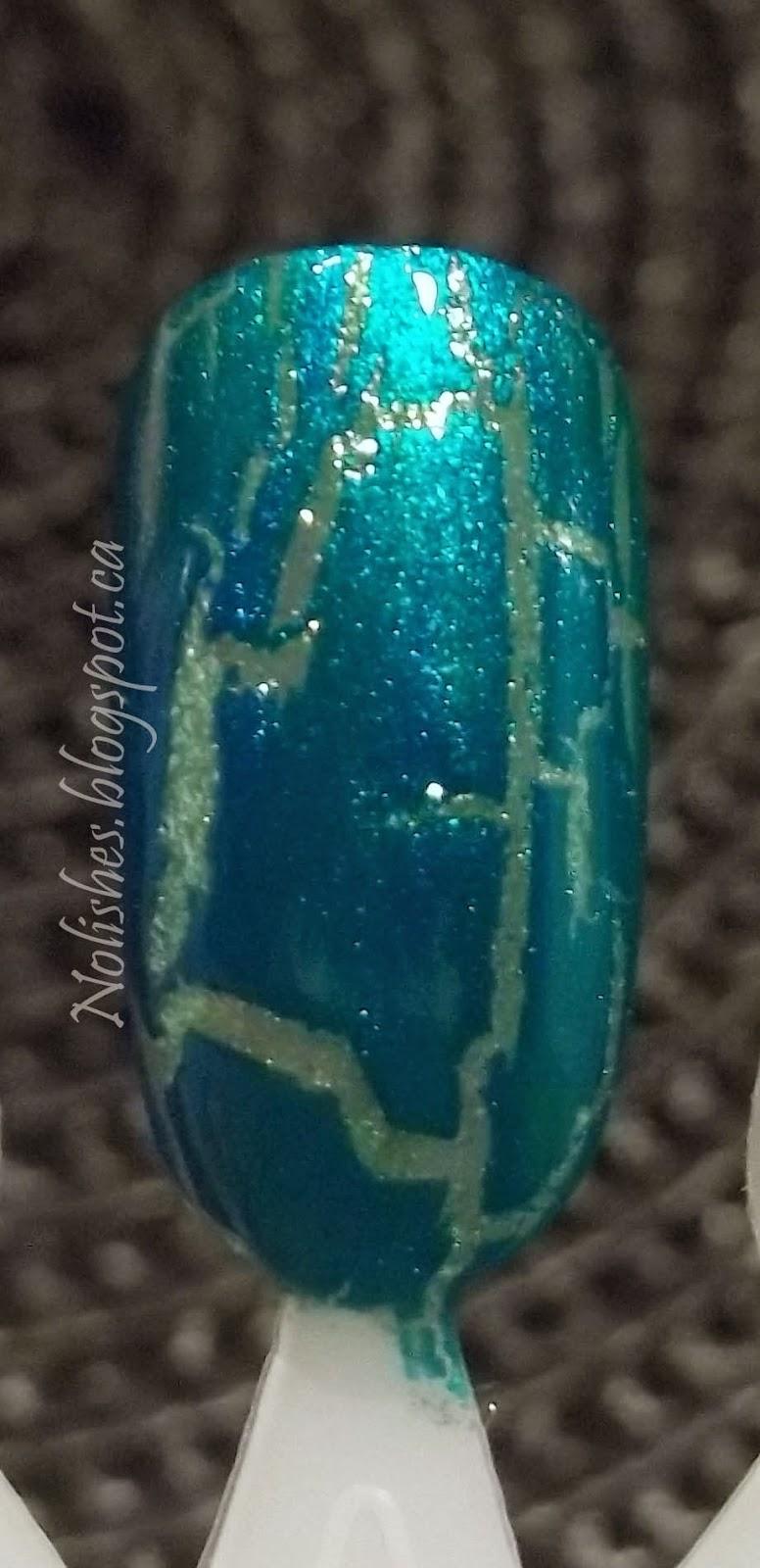 Crackle Base Using OPI 'Turquoise Shatter', and Finger Paints 'Margarita Mambo'