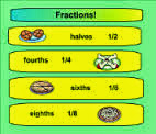 screen shot of the fractions program that you can download to your smart board