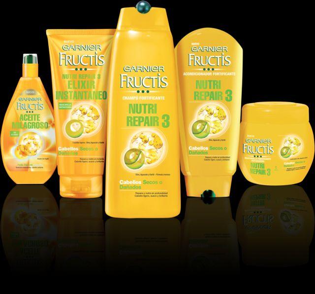 Fructis Nutri Repair 3 de Garnier, soluciones para cabellos secos y dañados.