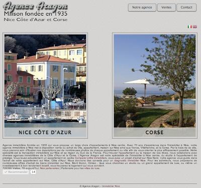 Aperçu de la page d'accueil du site de l'agence immobilière