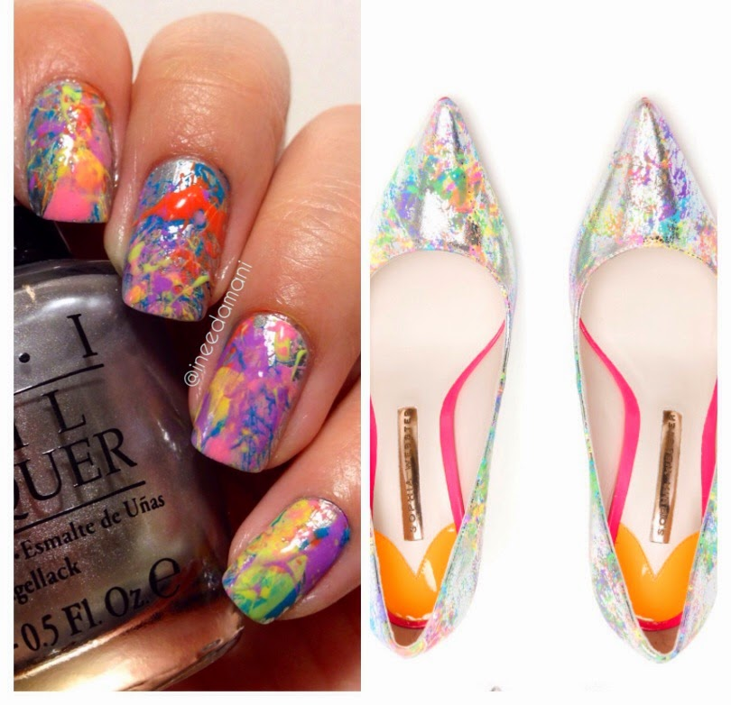 sophia webster coco rainbow pumps inspired metallic neon paint splatter nails
