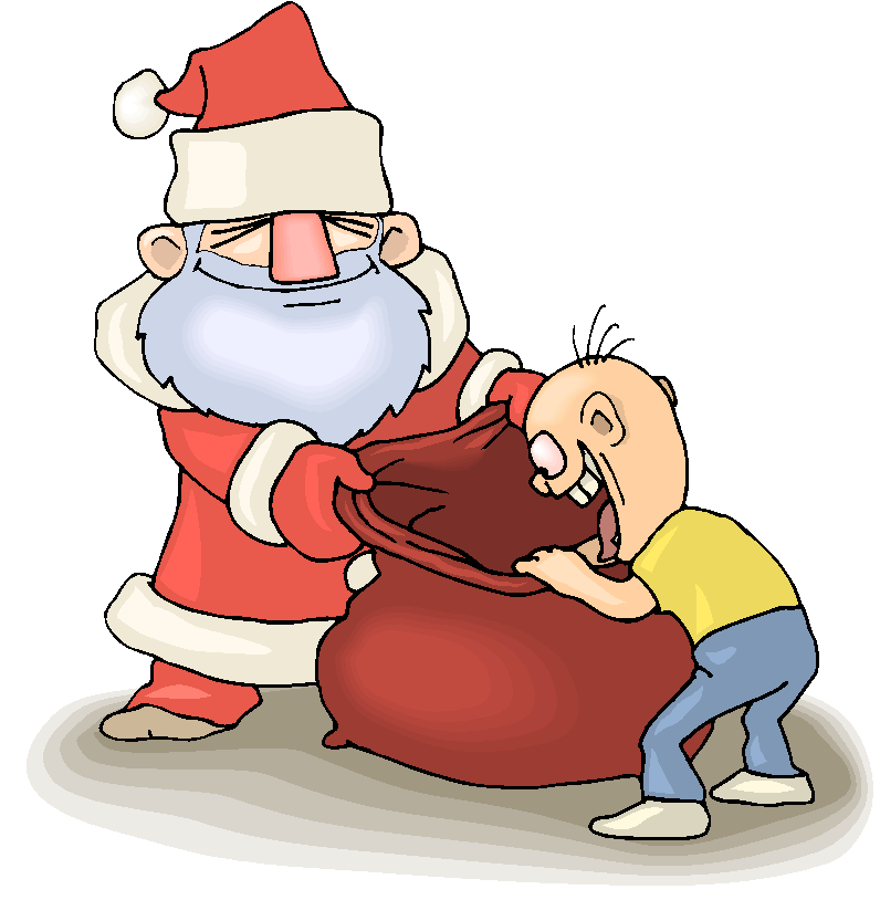 Kid Check Present in Santa Clause Bag Free Clipart