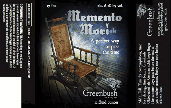 Greenbush Memento Mori label