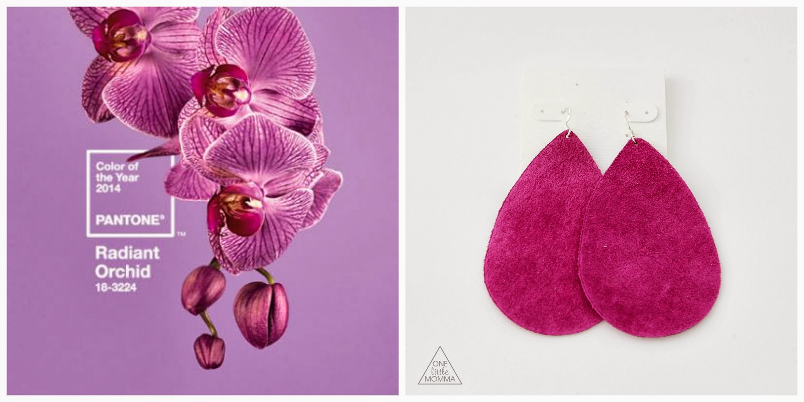 Radiant Orchid Suede Leather Earrings- the hottest color for 2014
