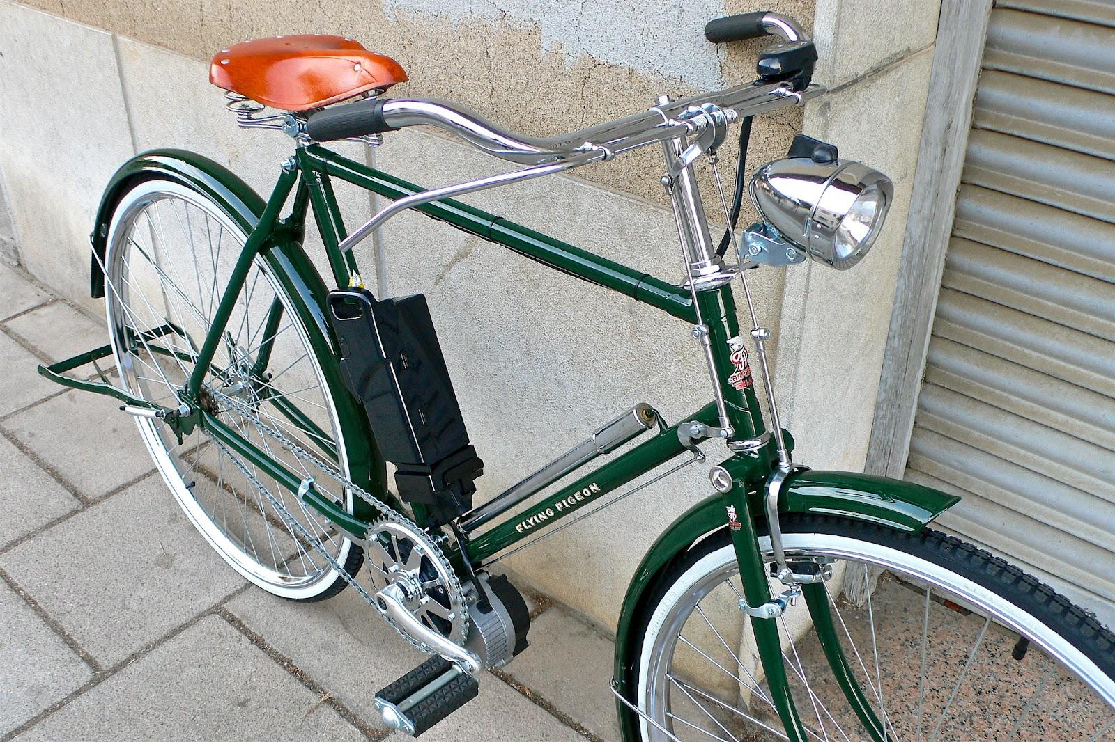 Flying Pigeon Bicycles: Bicicleta clásica eléctrica de frenos de varilla