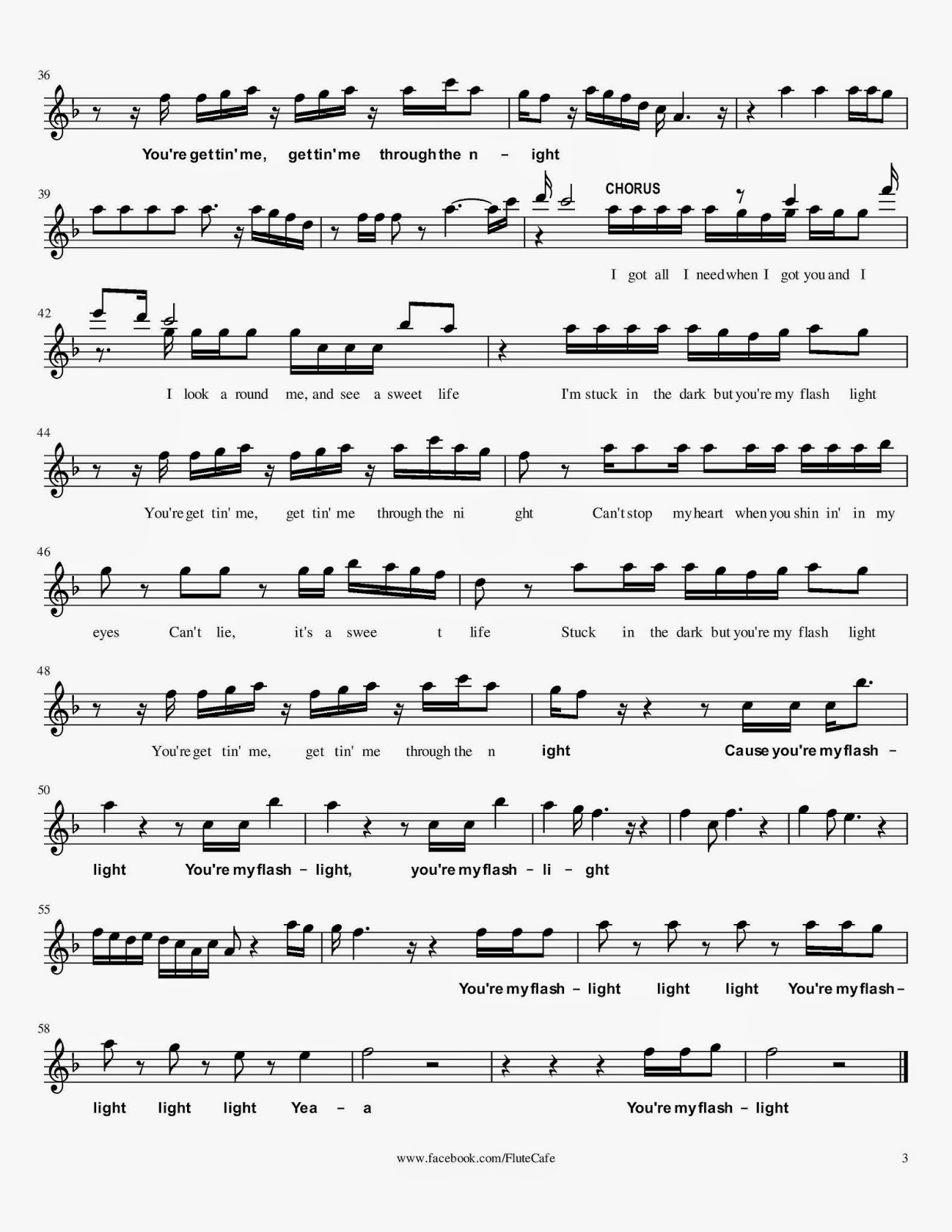 Flute Cafe: Flashlight by Jessie J (Flute Sheet Music)