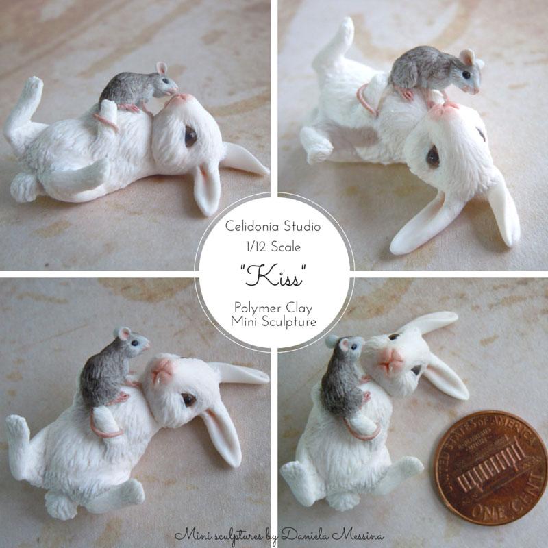 Coniglietto e Topino 1/12 - Mini Scultura in Pasta Sintetica di Daniela Messina