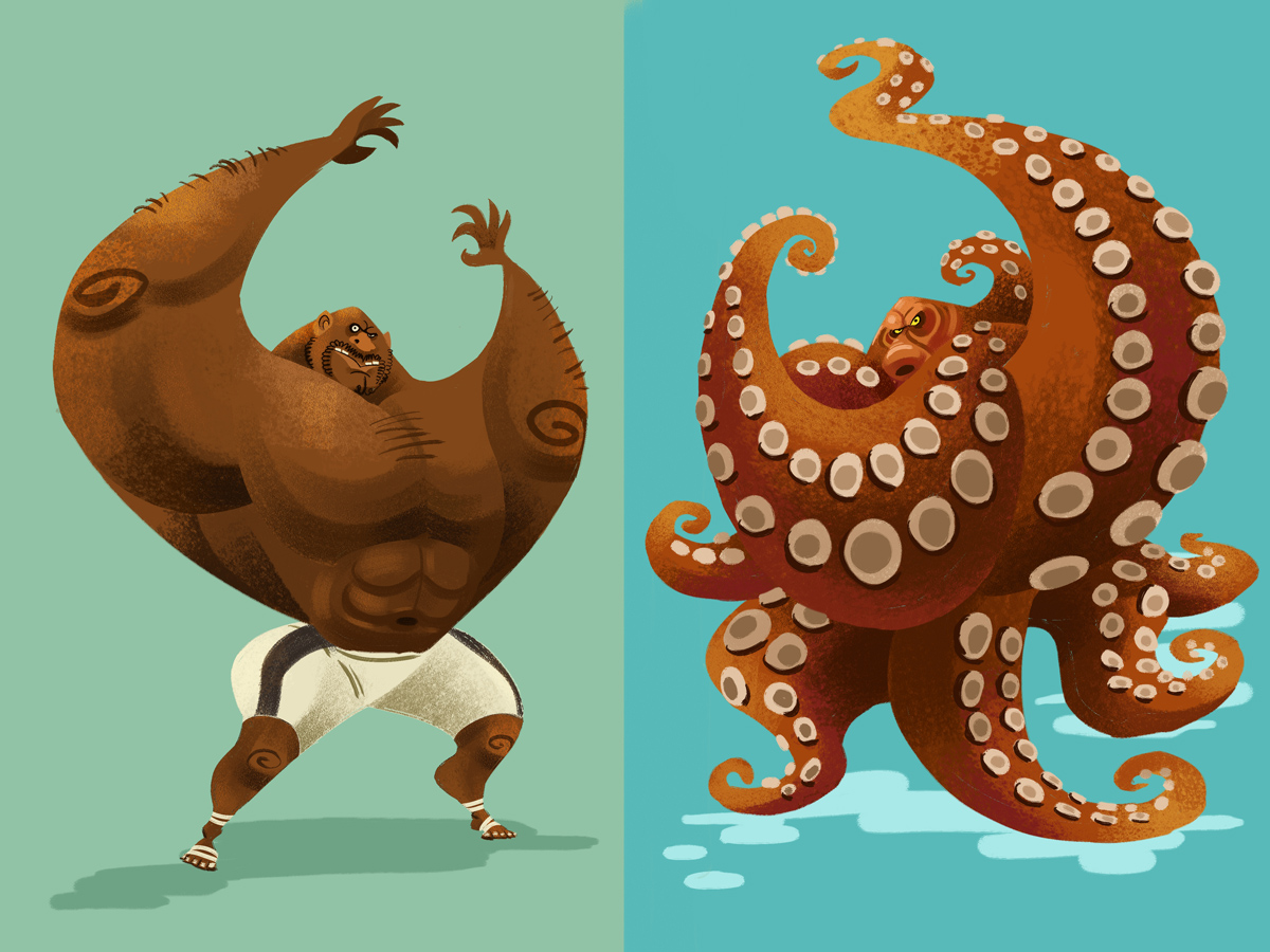 Bob Sapp was an Octopus | Kasidej Hempromaraj Octopus Cartoon Images