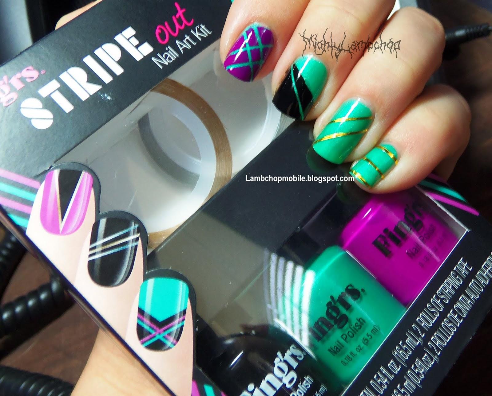 Fing\'rs Heart 2 Art Stripe Out Nail Art Kit   Lambchop Mobile
