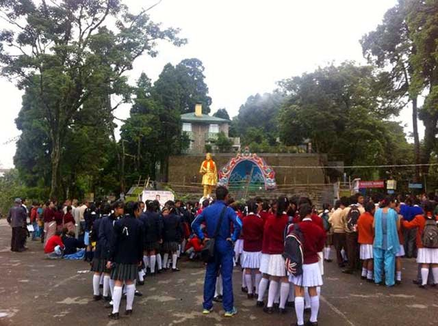 Darjeeling students attend bhanu jayanti in chowrasta