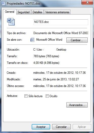 Ventana de propiedades de un archivo de Microsoft Word
