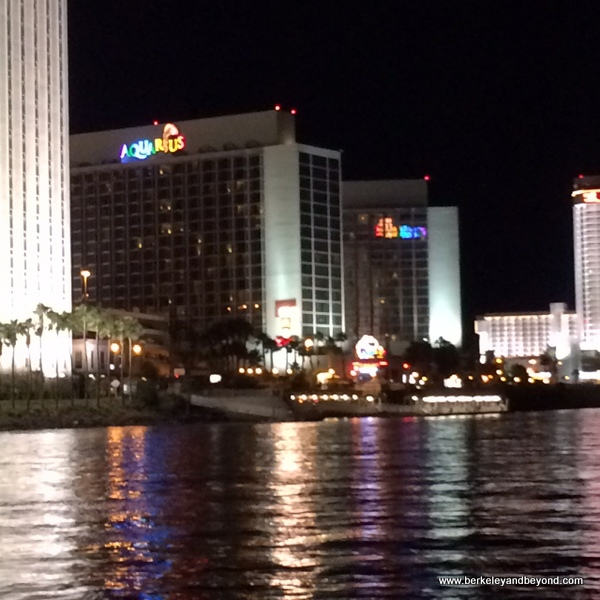 Aquarius Casino Resort at night in Laughlin, Nevada