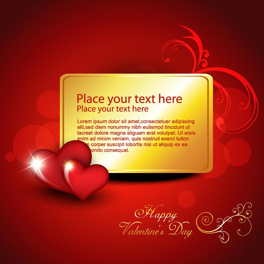 ハート飾りのバレンタインデー カード背景 heart-shaped romantic love cards イラスト素材4