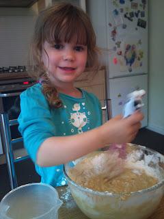 Milly mixes chocolate banana cake