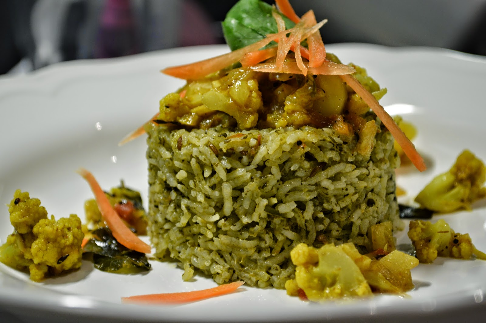 Green Rice with Aloo Gobi