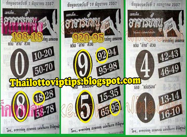 Thai lotto 3up and Down Touch Tip paper 01-07-2014