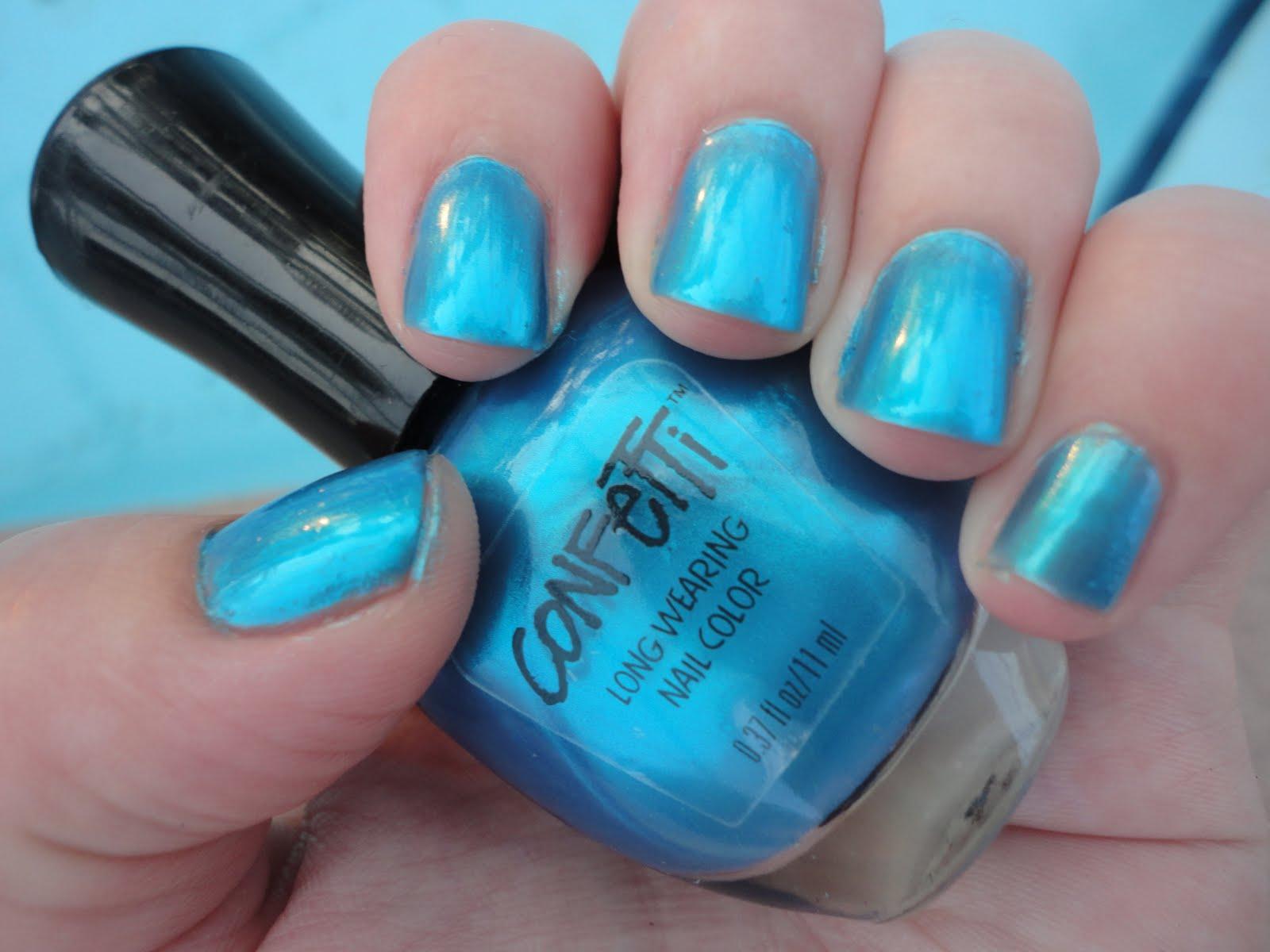 Bright Turquoise Nail Polish Confetti