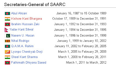List of SAARC secretary Generals