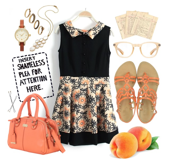 Peach print outfit inspiration from @faitboum on Polyvore
