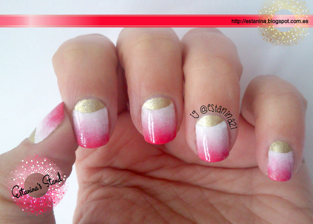 Uñas de media luna con gradiente rosa - Mi Stand de Uñas Decoradas