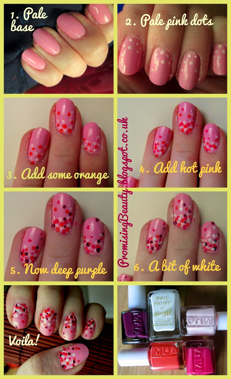 pink polka dot nails, spotty cute nail art. Manicure. Barry M, MUA, pink, orange, purple and white nails. tutorial, step-by-step
