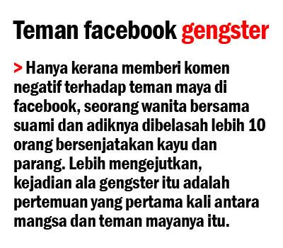Gara-gara komen negatif di Facebook, di belasah 10 orang, teman facebook gangster,