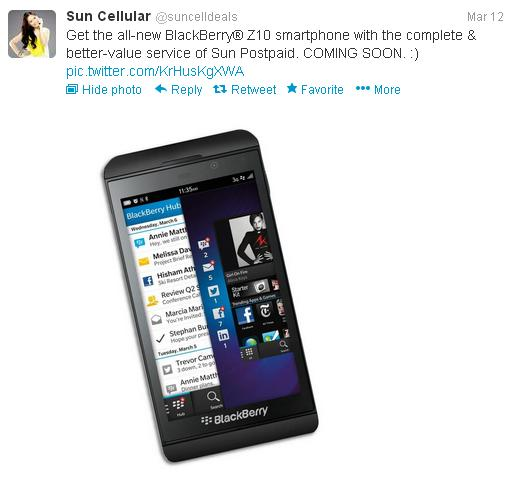 Sun cellular to offer blackberry z10 smartphone free on for Sun mobile plan