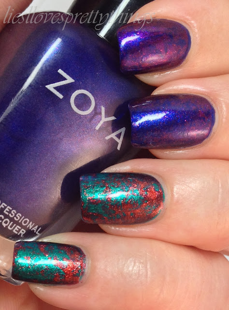 Zoya Satins collection saran wrap manicure