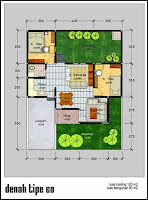 gambar denah rumah type 60 dan ukuran