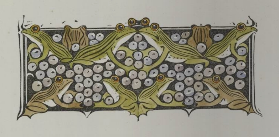 illustration of frogs in pattern