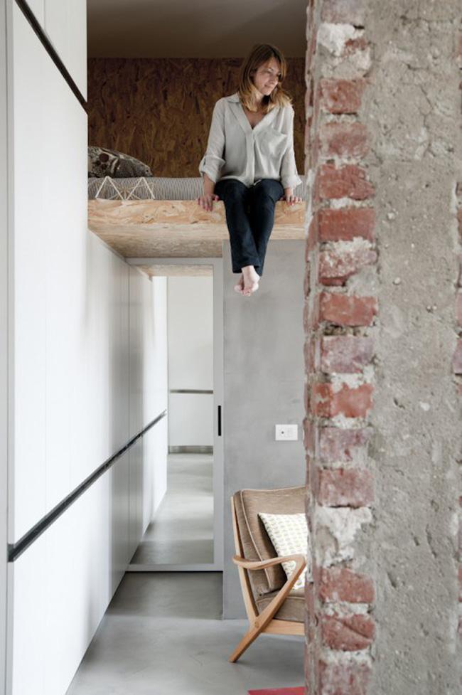 vista dormitorio espacio pequeño loft 30m2