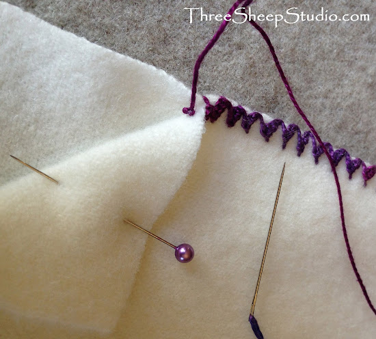 Blanket Stitch - Scalloped Blanket Stitch - How To Conceal Knots - ThreeSheepStudio.com