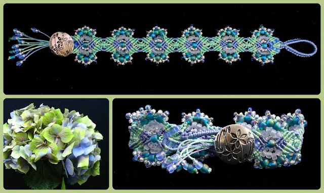 Hydrangeas micro macrame bracelet variation by Nadja Shields of Imbali Crafts.