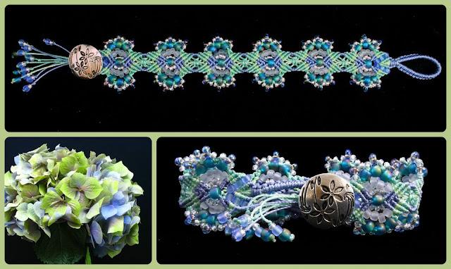 Hydrangeas micro macrame bracelet variation by Nadja Shields of Imbali Crafts.