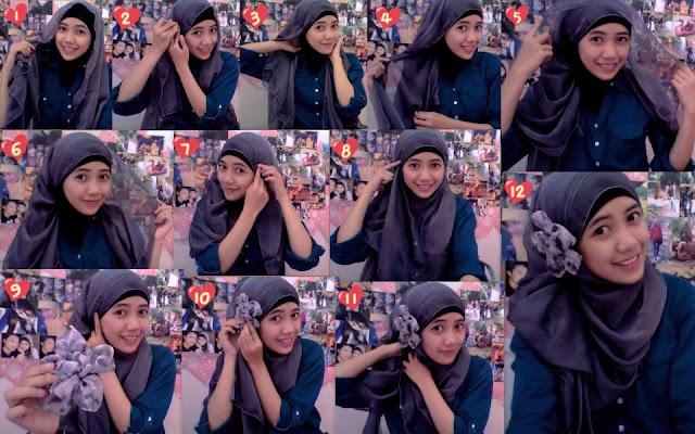 Kreasi jilbab, tutorial cara memakai jilbab modern,simple dan