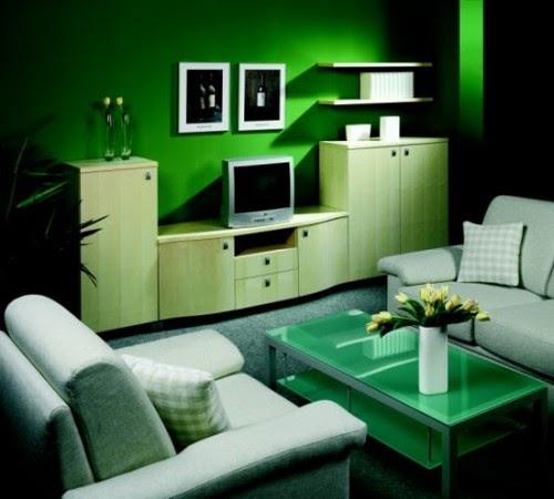 Muebles y Decoración de Interiores Living de Color Verde