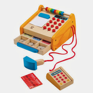 New from Hape Toys - Checkout Register. Scan, count, swipe and learn to give proper change. Great for any little mathematician!