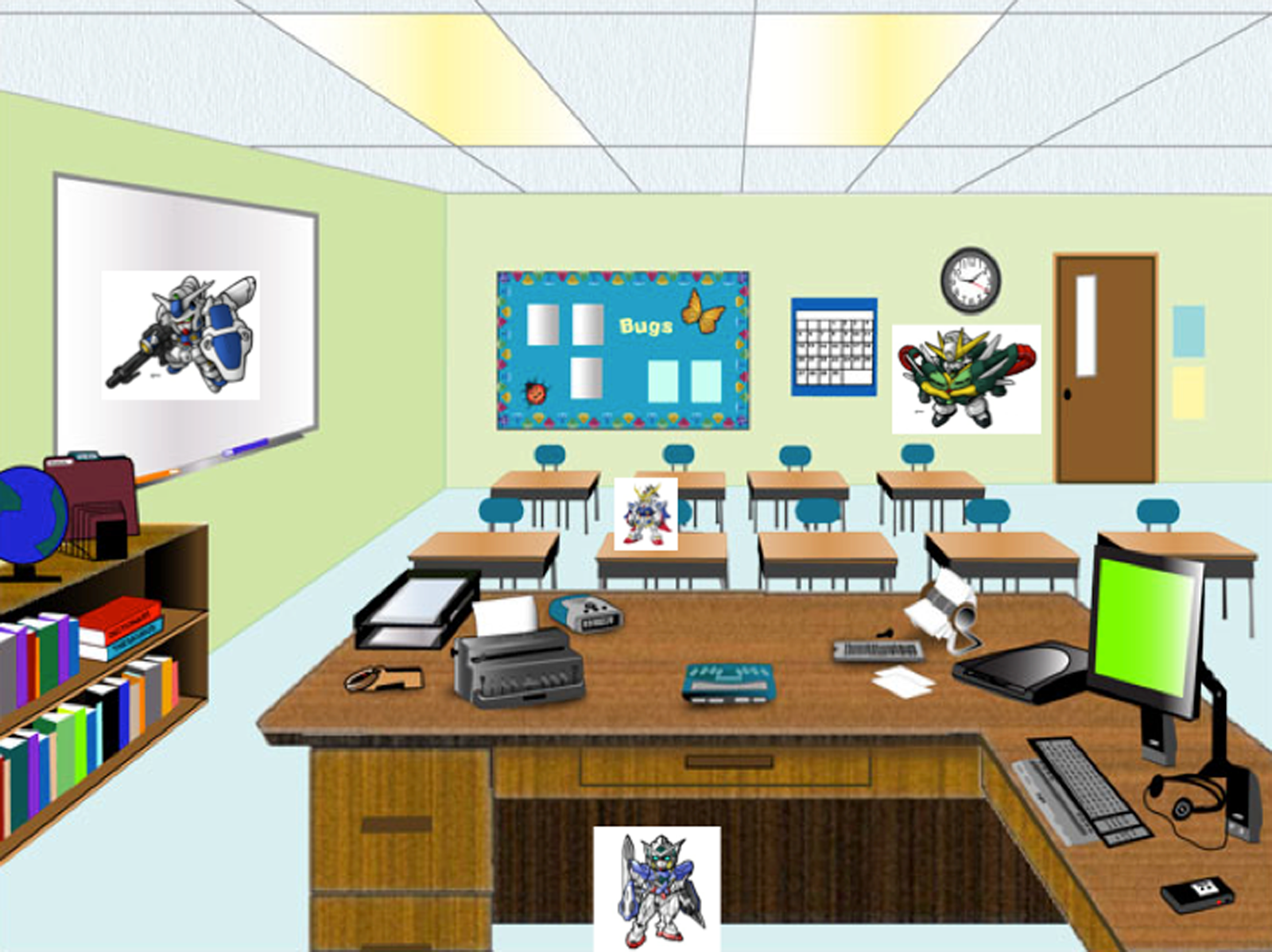 student 2 will get the picture of class of classroom with gundams