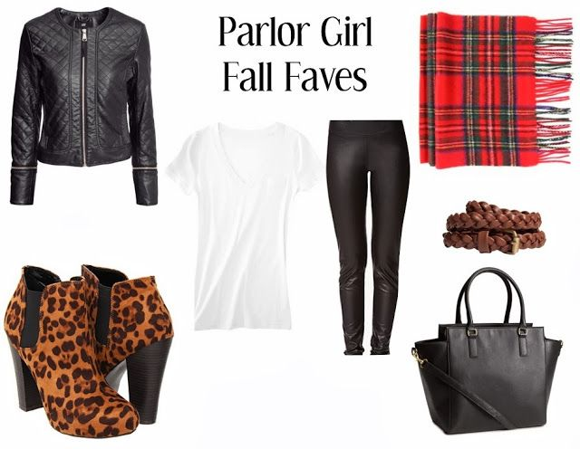 parlor girl fall favorites plaid scarf leopard booties white tee black moto jacket black leggings