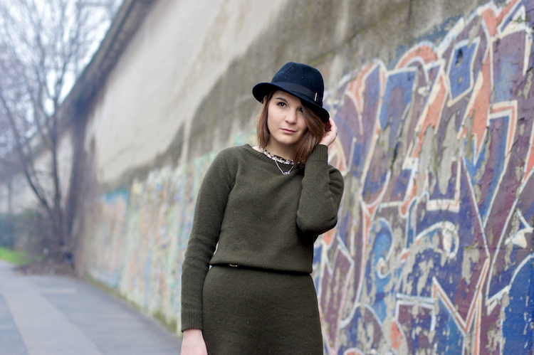 street style cozy militar green look