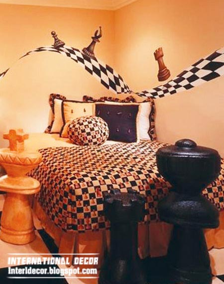 chess theme for kids bedroom, cool kids room themes ideas
