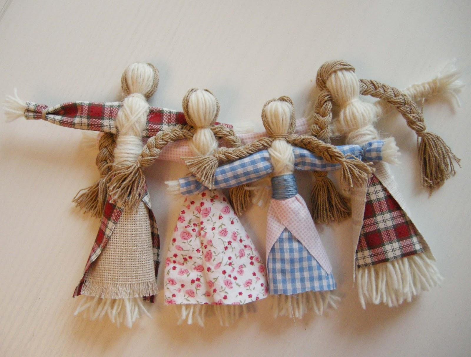 Куклы из мочалки и пакли