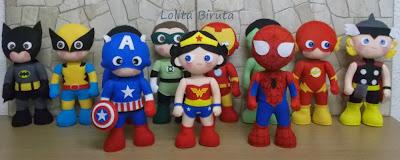 Super heróis em feltro para decoração de festa infantil