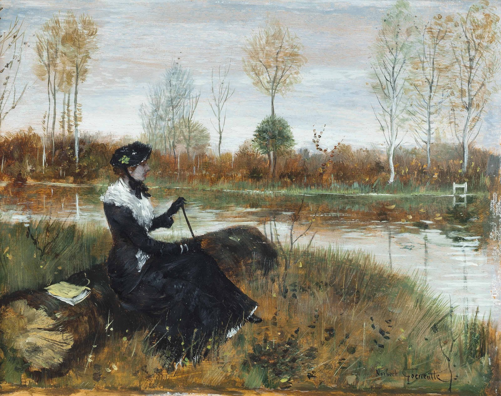 Norbert Goeneutte Elegant company on the riverbank Christies