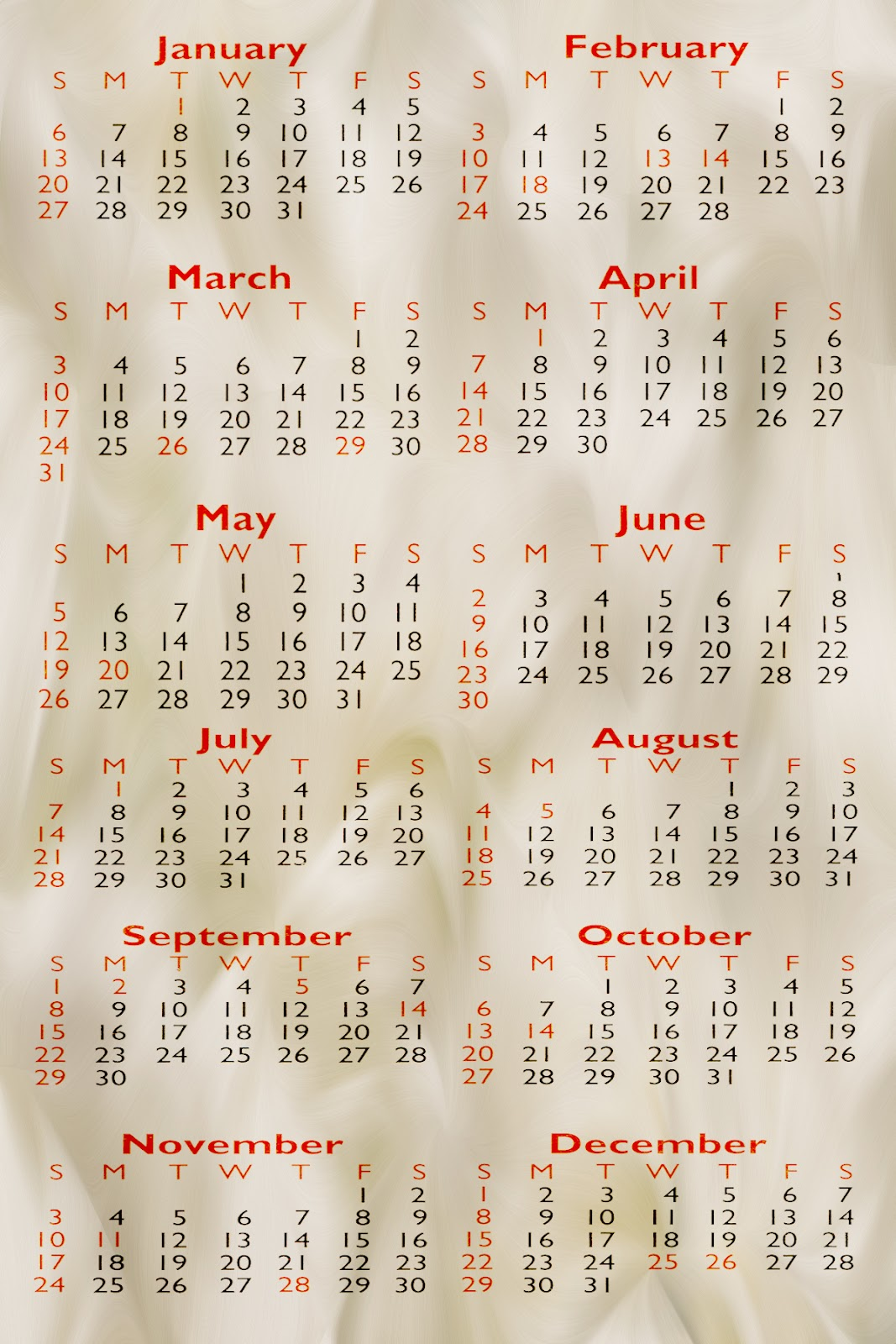2013 Pocket Calendar Template