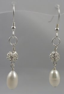 Paris handmade Pearl and Crystal Earrings on Silver