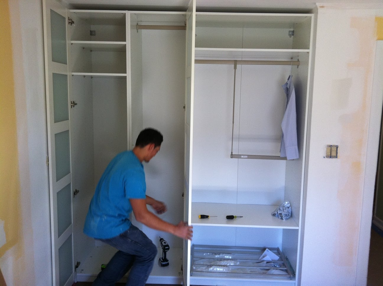 Pax wardrobe turned custom reach in closets ikea hackers ikea hackers - Ikea wardrobes for small spaces ...
